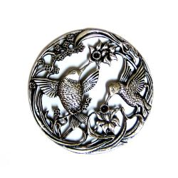 Potpourri Pewter Lid - Double Hummingbird